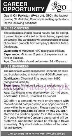 New Jobs Gas & Oil Pakistan Pvt. Ltd (GO) Jobs 2017 for Sales Officer Lube Engineers Jobs Application Deadline 21-05-2017 Apply Now
