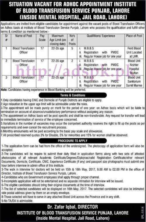 New Jobs Institute of Blood Transfusion Service Punjab Adhoc Appointment Lahore 2017 Jobs for Blood Transfusion Officers Jobs Interview Deadline 16-05-2017 Apply Now