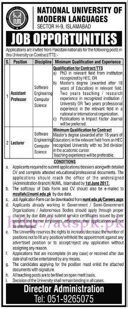 New Jobs National University Modern Languages NUML Islamabad Jobs 2017 for Assistant Professor Lecturer (Software Engineering Computer Science) Jobs Application Form Deadline 01-06-2017 Apply Now