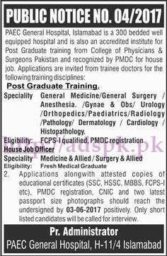 New Jobs PAEC Ad No. 04-2017 General Hospital Islamabad Jobs for House Job Officer Jobs Application Deadline 03-06-2017 Apply Now