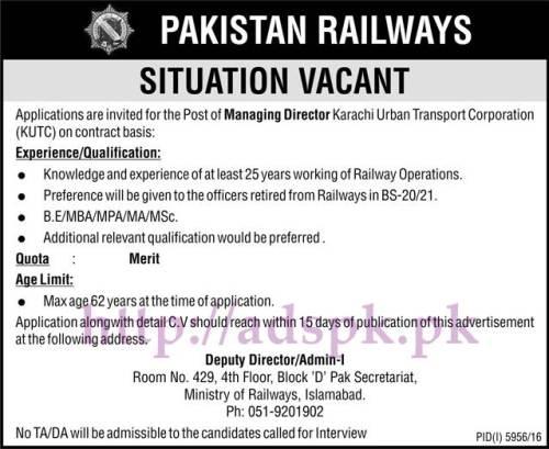 New Jobs Pakistan Railways Ministry of Railways Islamabad Jobs 2017 for Managing Director Karachi Urban Transport Corporation Jobs Application Deadline 24-05-2017 Apply Now