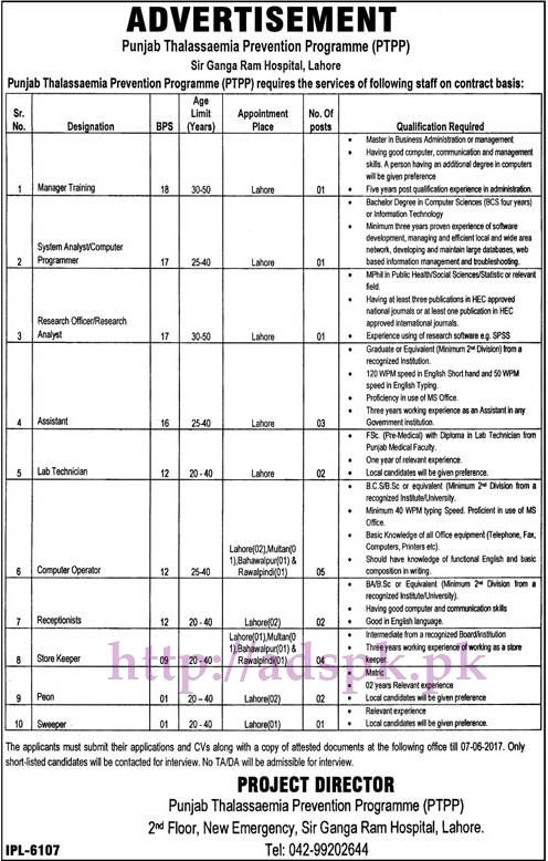 New Jobs Punjab Thalassaemia Prevention Program (PTPP) Sir Ganga Ram Hospital Lahore Jobs 2017 for Manager Training System Analyst Computer Programmer Assistant Computer Operator Jobs Application Deadline 07-06-2017 Apply Now