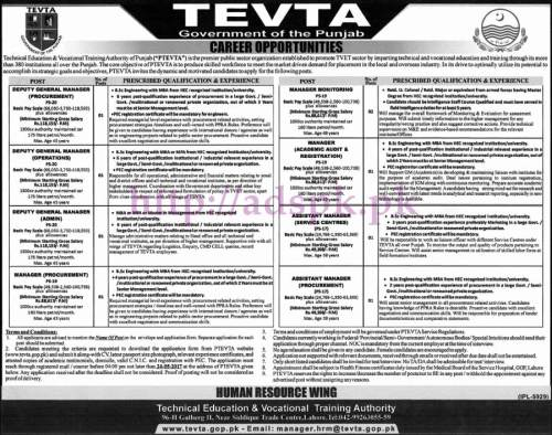 New Jobs TEVTA Punjab Govt. Jobs 2017 for Deputy General Managers (Managers) Assistant Managers Jobs Application Deadline 24-05-2017 Apply Now