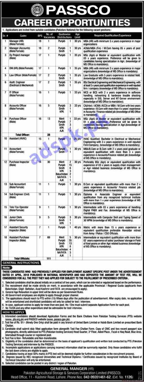 PASSCO 140 Jobs 2018 PTS Written Test MCQs Syllabus Paper for Managers Deputy Project Manager Law Officer Assistant Engineer IT Officer Accounts Officer Purchase Officer Purchase Inspector Assistant Purchase Inspector Junior Clerk Jobs Application Form Deadline 23-11-2018 Apply Now