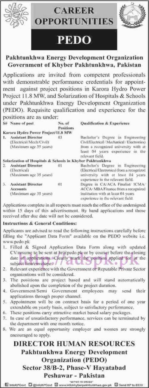 PEDO Career Opportunities Peshawar Jobs 2017 for Assistant Directors (Electrical Mechanical Civil) Assistant Director Accounts Jobs Application Deadline 31-05-2017 Apply Now