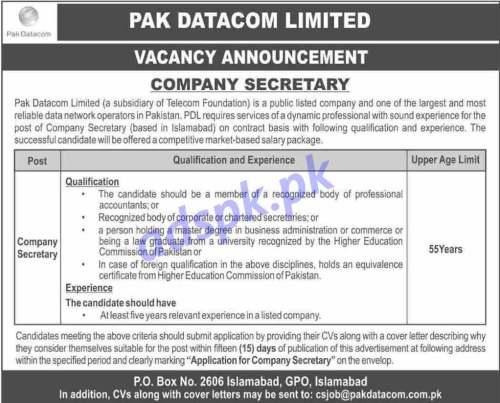 Pak Datacom Limited PO Box 2606 Islamabad GPO Islamabad Jobs 2020 for Company Secretary Jobs Application Deadline 04-05-2020 Apply Now