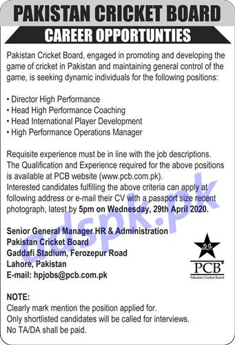 Pakistan Cricket Board Lahore PCB Jobs 2020 for Director High Performance Head High Performance Coaching Jobs Application Deadline 29-04-2020 Apply Now