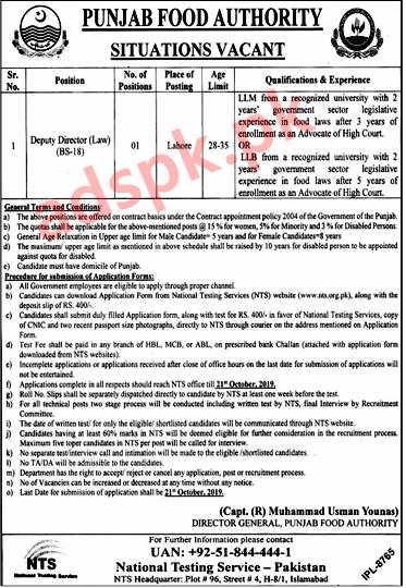 Punjab Food Authority PFA Jobs 2019 NTS Written Test MCQs Syllabus Paper for Deputy Director Law Jobs Application Form Deadline 21-10-2019 Apply Now