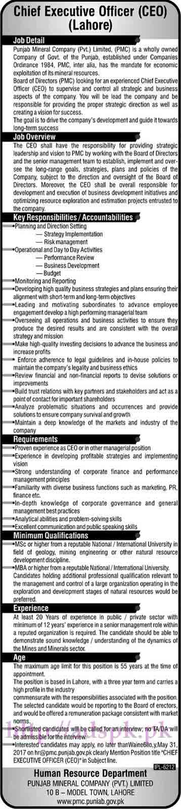 Punjab Mineral Company Pvt. Limited Lahore Jobs 2017 for Chief Executive Officer (CEO) Jobs Application Deadline 31-05-2017 Apply Now
