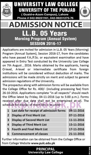 punjab-university-lahore-ll-b-05-years-morning-program-2017