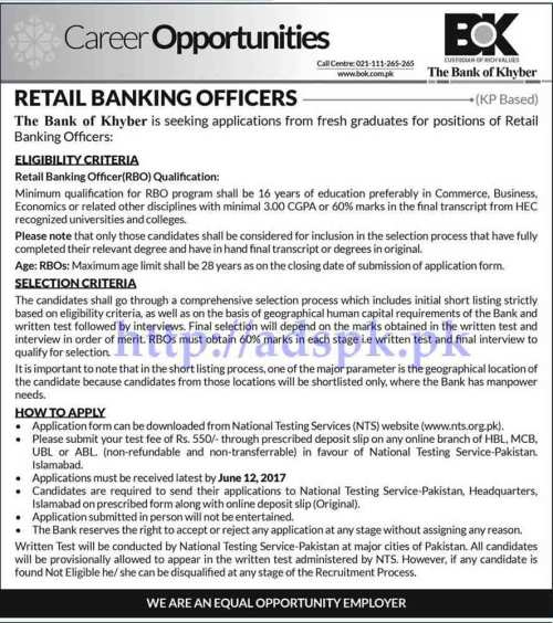 RBO Jobs Bank of Khyber BOK in Retail Banking Officer Jobs NTS Written Test MCQs Syllabus Paper for RBO Jobs Application Form Deadline 12-06-2017 Apply Now by NTS Pakistan