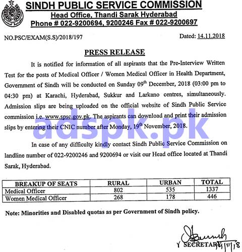 SPSC Pre-Interview Written Test for Medical Officer Women Medical Officer Dated 09-12-2018 Aspirants Download Print Admission Slips by Sindh Public Service Commission