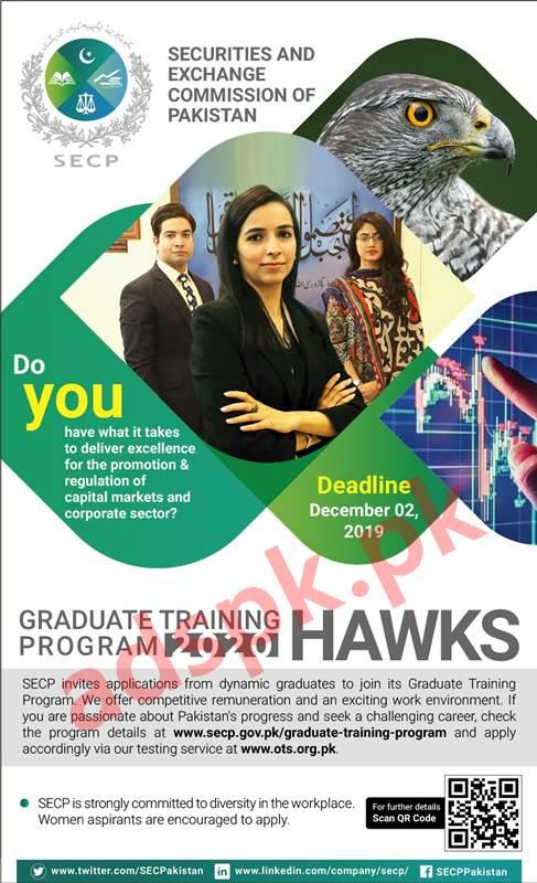 Securities & Exchange Commission of Pakistan SECP Graduate Training Program HAWKS 2020 OTS Written Test MCQs Syllabus Paper Jobs Application Form Deadline 02-12-2019 Apply Online Now