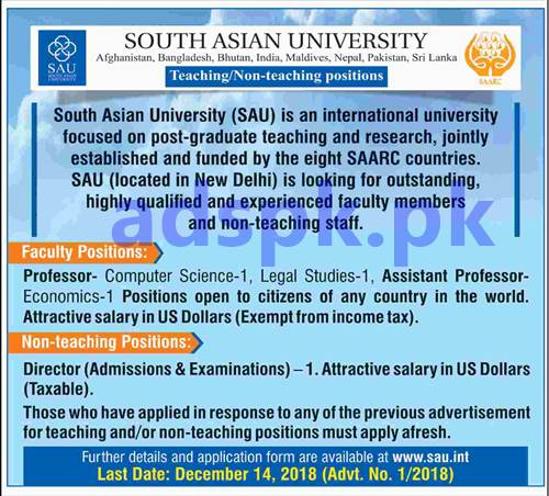 South Asian University Afghanistan Bangladesh Bhutan India Maldives Nepal Pakistan Sri Lanka SAU Jobs 2018 for Professors Assistant Professor Director Admissions & Examinations Jobs Apply Form Deadline 14-12-2018 Apply Online Now