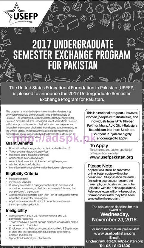 USEFP Latest 2017 Undergraduate Semester Exchange Program for Pakistan United States Educational Foundation in Pakistan How to Apply Application Deadline 23-11-2016 Apply Online Now