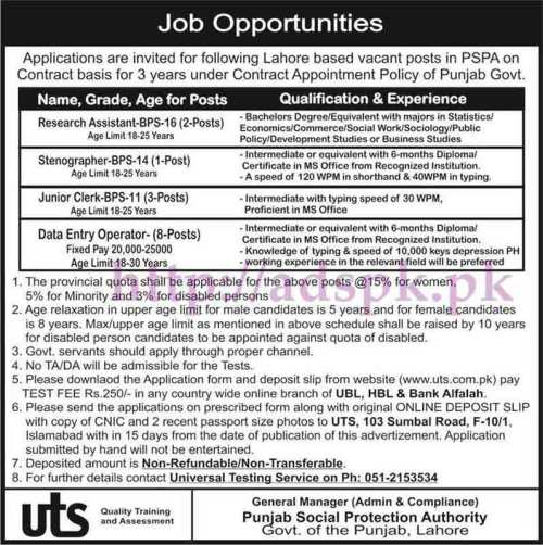 UTS Jobs Punjab Social Protection Authority Govt. of Punjab PSPA Lahore Jobs 2017 Written Test MCQs Syllabus Paper for Research Assistant Junior Clerk Data Entry Operator Jobs Application Form Deadline 06-06-2017 Apply Now by Universal Testing Service