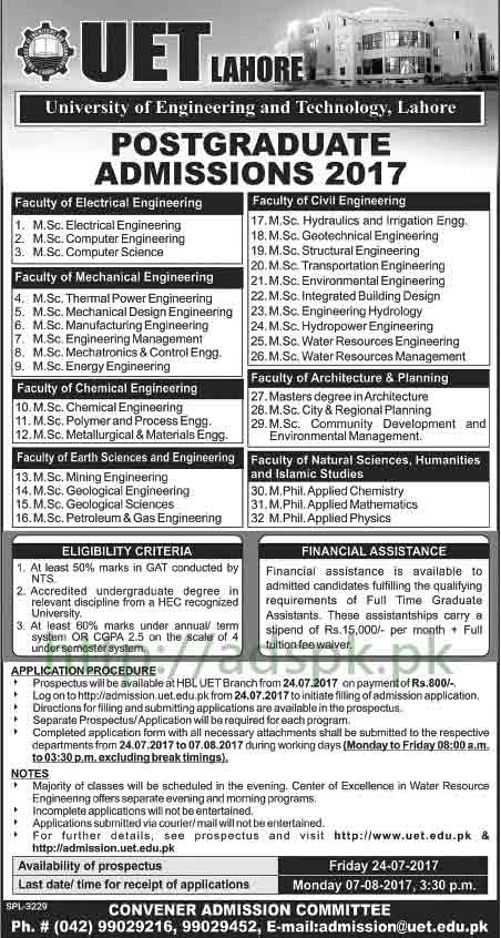 University of Engineering and Technology UET Lahore Admissions 2017 Open for M.Sc Engineering M.Phil Application Deadline 07-08-2017 Apply Now