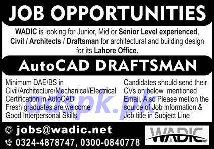 WADIC Lahore Office Jobs 2020 for AutoCAD Draftsman Jobs Application Apply Online Now