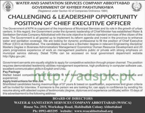 Water & Sanitation Services Company Abbottabad WSSCA KPK Jobs 2017 Chief Executive Officer Jobs Application Deadline 04-08-2017 Apply Now