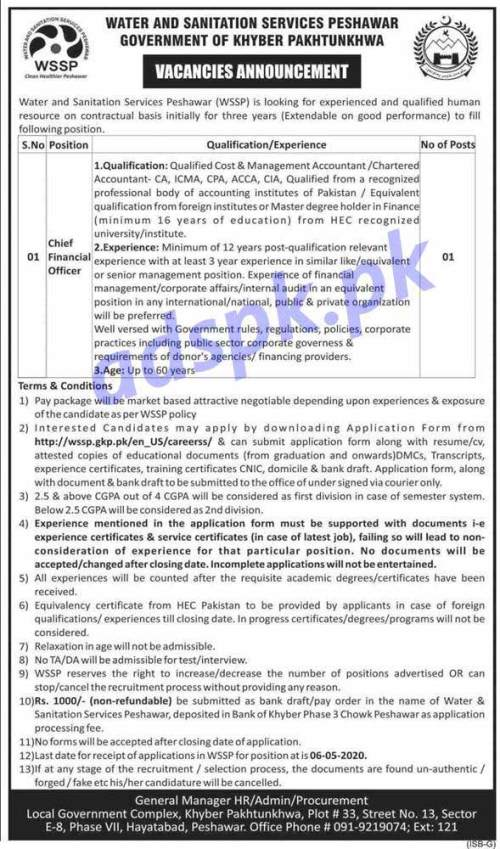 Water and Sanitation Services Peshawar WSSP Jobs 2020 for Chief Financial Officer Jobs Application Form Deadline 06-05-2020 Apply Now