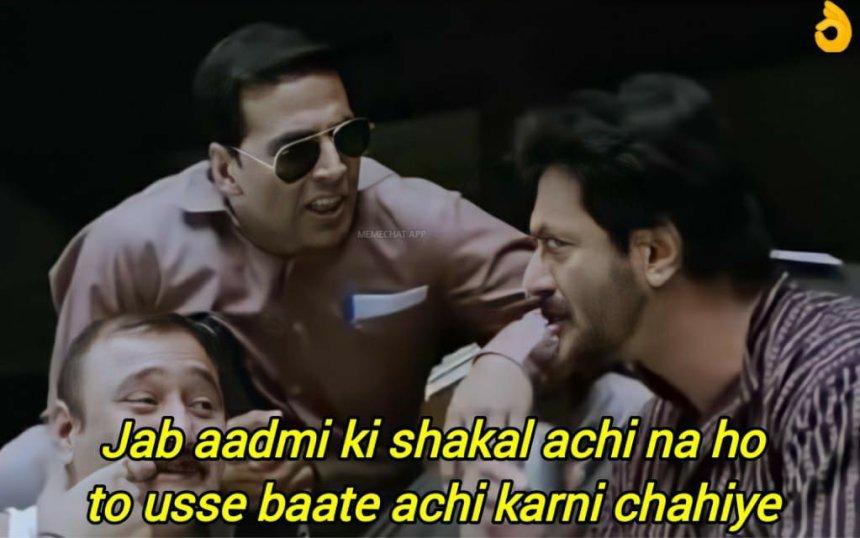 Jab Aadmi ki Shakal achi na ho meme template from Khatta Meetha movie