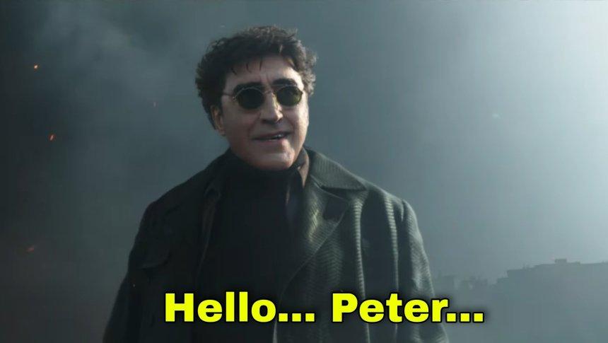 Hello Peter meme template of Doctor Octopus