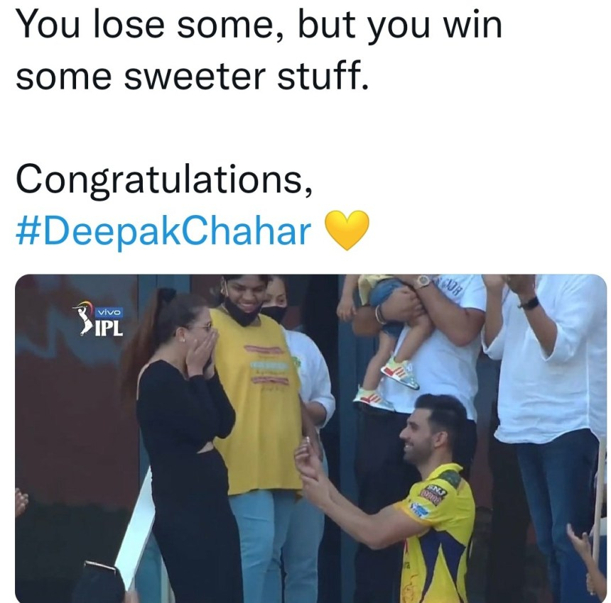 Fans reaction after Deepak Chahar proposal moment