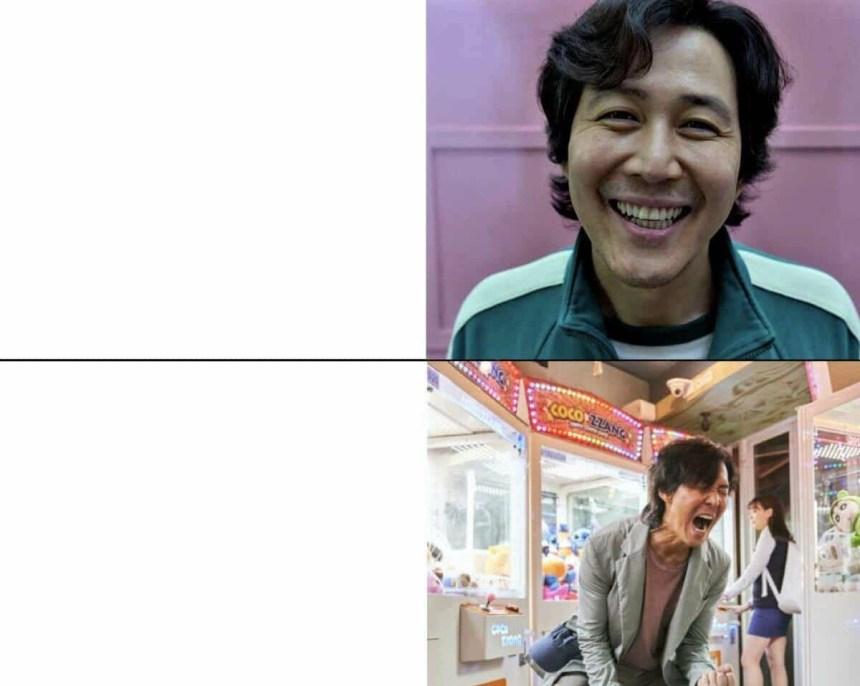 Squid Game Happy vs very happy meme template