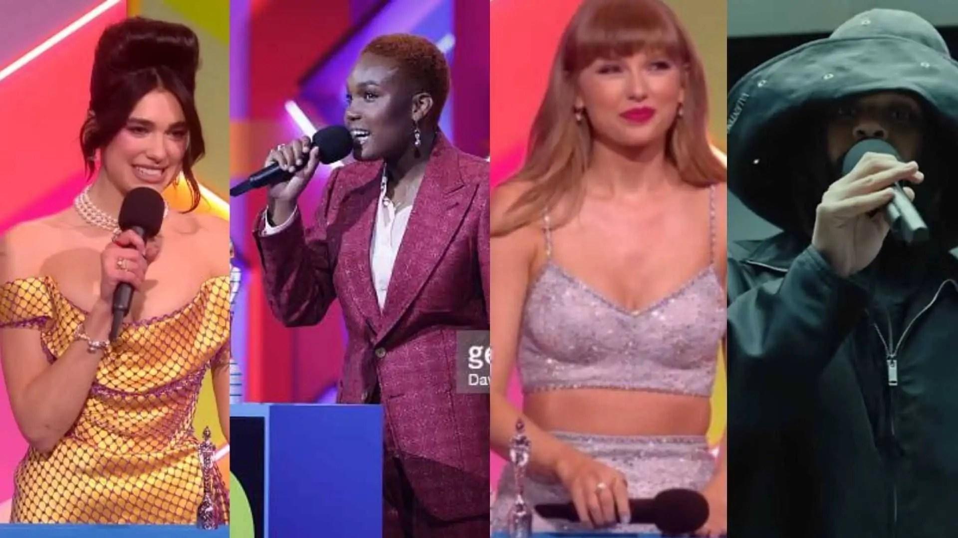 Dua Lipa, Arlo Parks, Taylor Swift e The Weeknd são alguns dos vencedores do Brit Awards 2021 (Reprodução/Internet)