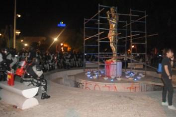 Riot police secures the statue of Prometheus in popular Zena Park in Skopje.