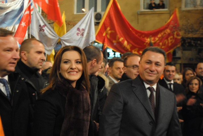 President of VMRO-DPMNE party Nikola Gruevski arrives at the rally with his wife Borkica Gruevska.