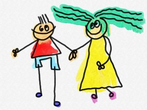 Adult ADHD partners cartoon characters holding hands
