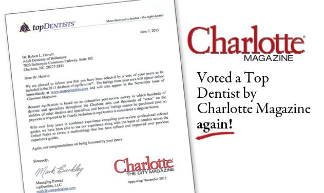 Voted top charlotte dentist 2013