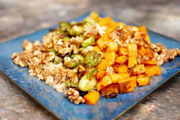 Squash and Sprout Rice Platter. Photo by J. Andrews