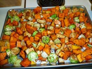Veggies spread evenly on pan