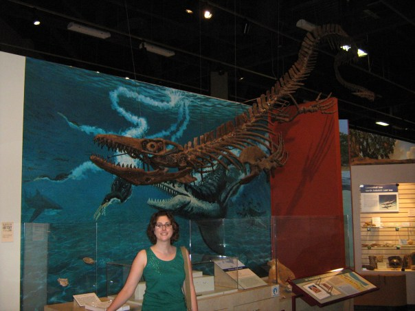 In honor of my only planned vacation this year, I'm sharing my favorite dinosaur, the mosasaur (which I might be spelling correctly) at the State Historical Society of North Dakota. She's awesome.