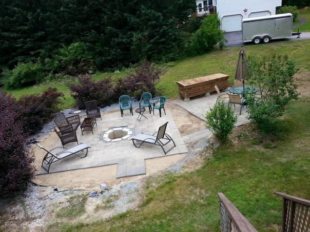 Denise's dumb vacation project, building the bar and patio where the above ground pool and deck used to be
