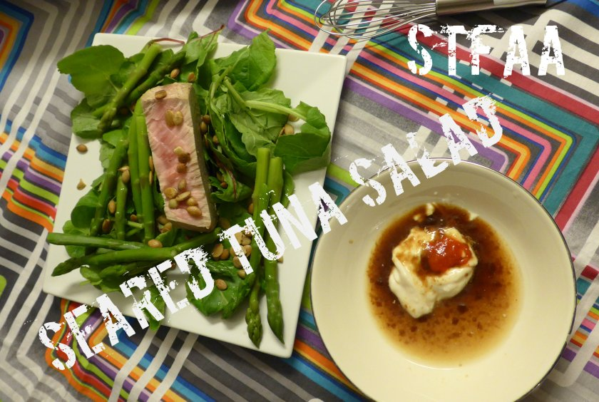 Seared Tuna Salad with unmixed dressing