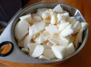 Peeled, cored and sliced apples