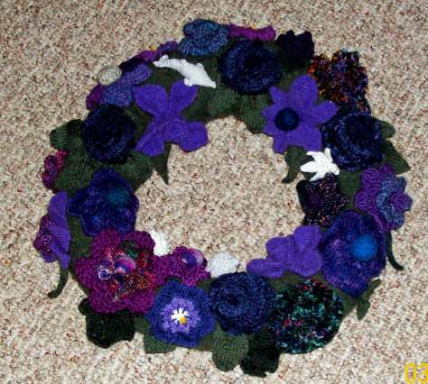 A wreath of sorts, the one Denise knit for her wedding