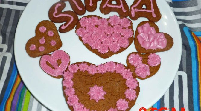 Valentine's Day Frosted Gingerbread Cookies