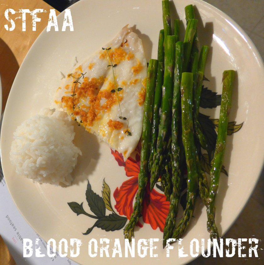 Blood Orange Flounder with baked asparagus and jasmine rice
