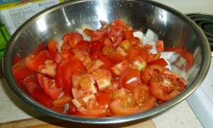 Tomatoes and onions chopped and ready to add to ground beef