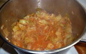 All ingredients added and cabbage cooked until tender