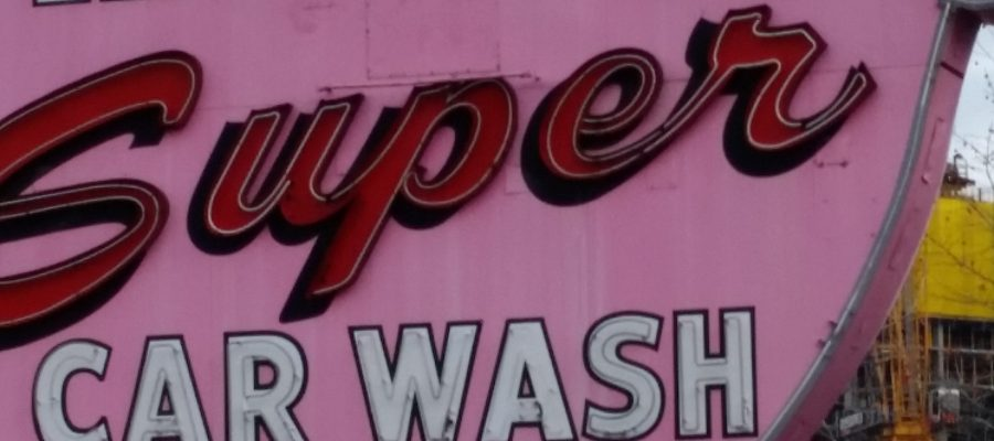 Elephant Super Car Wash sign. How to Treat Yo Car in Seattle. Because it's not snowing here.