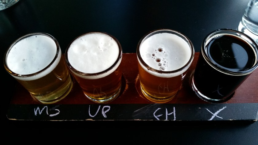 Flight of 100% gluten-free beers from Ghostfish Brewery in Seattle