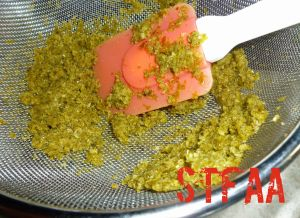 Pushing pulp through strainer to strain out skin and seeds