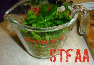 Cilantro, chopped and tightly packed