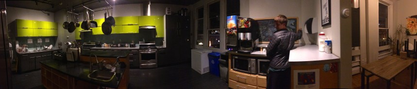 The kitchen of our first San Diego Hostel