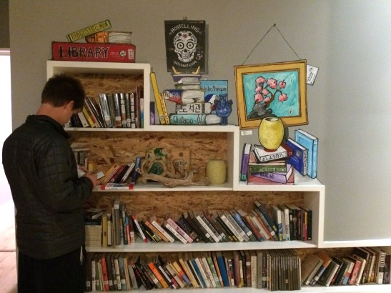 Book Swap of our first San Diego hostel